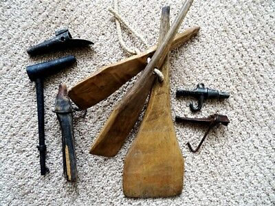 primitive carved MAPLE SUGAR CANDY SPREADERS butter paddles & EARLY TAP SPILES