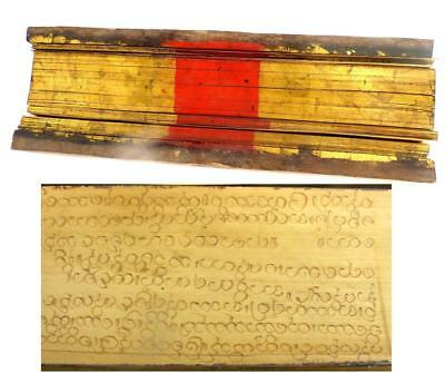 Antique South East Asian Burmese Palm Leaf Manuscript Red Lacquer & Gilt