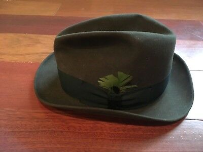 790fabca VTG STETSON 3X Beaver Fedora Hat Size 7 1/8 Brown With Feather ...