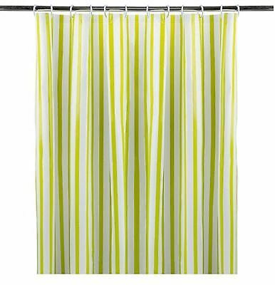 Striped shower curtain with Eyelet Ring Top Lime Green 180x180cm