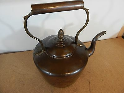 Victorian 8 pint Copper Swan Neck Kettle unpolished Patina