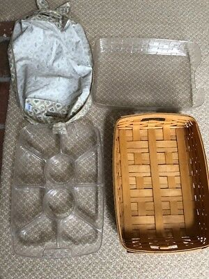 Preowned LONGABERGER Hostess Serving Tray Basket with Liner & 2 Protectors 2000