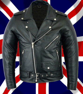 Men's Genuine Real Leather Vintage Retro 50's Biker Brando Motorcycle Jacket