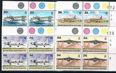British Indian Ocean Territory 1992 Visiting Aircraft PLATE BLOCKS SG124/7 MNH