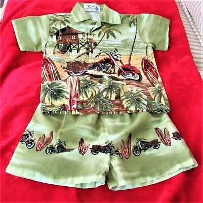 Vtg 60's Ky's Made In Hawaii Boy's Short/bathing Suit Set W/cycles/boards-1/2