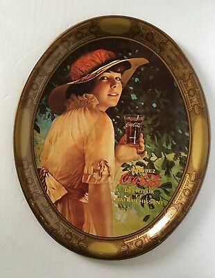 Coca Cola 1970s Reproduction Of 1916 Elaine Girl Oval Metal Tray
