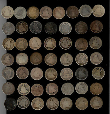Lot of 50 Mixed Low Grade Seated Liberty Quarters -Fun Lot!