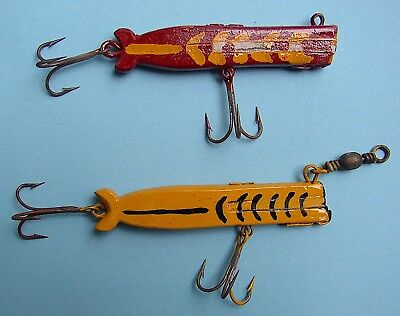 Two 2 Vintage 1930's Handmade Pier Baits Clothespin Fishing Lures Inlaid Lead