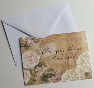 Set of 8 Blank Notecards & Envelopes ~  Amazing Things Will Happen Inspirational