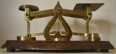 Vintage Postal Scales Complete With 5 weights Made In England warranted accurate