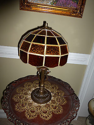 Vintage antique cast iron amber stained glass double socket table parlor lamp