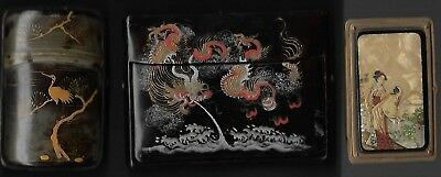 3 Asian card cases/boxes, brass, lacquer, horn.  Good cond.