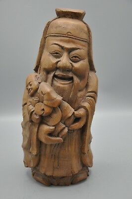Chinese Hand Carved Natural Bamboo root Buddha Statue
