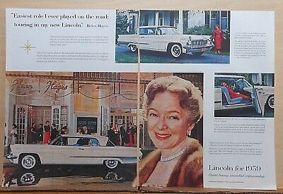 1958 two page magazine ad for Lincoln - actress Helen Hayes, 1959 Premiere Coupe