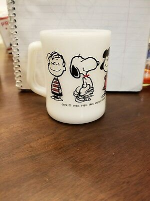 EXTREMELY RARE federal glass peanuts snoopy milk mug