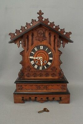 Large Working Antique Black Forest Mantel Cuckoo Clock & Key