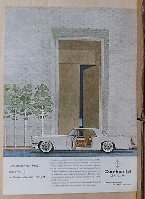 1956 magazine ad for Lincoln - Continental Mark II, soft spoken compliment