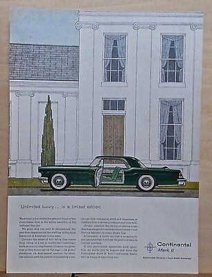 1956 magazine ad for Lincoln - Continental Mark II, Unlimited luxury, in ltd. ed