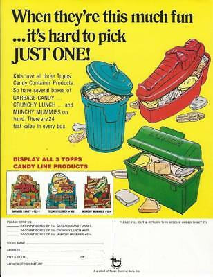 Selling sheet 1970's TOPPS CANDY CONTAINER LINE Garbage Can-dy, Munchy Mummies