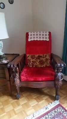 Antique Morris Chair with Cherub front legs. Excellent condition