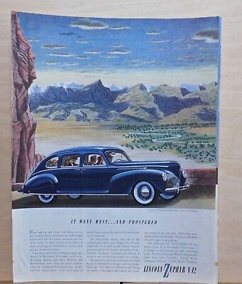 1940 magazine ad for Lincoln - blue Zephyr goes West, Wyoming ranch lands