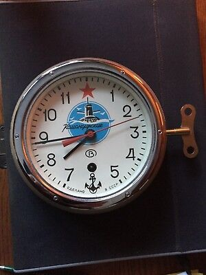 LOWER $$$!RUSSIAN SUBMARINE CLOCK-EXCELLENT!! Runs Perfectly, w/Wall Mount & Key