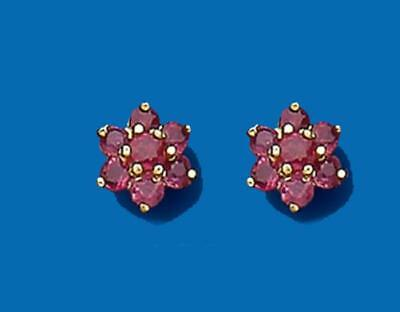 9ct Yellow Gold Real Ruby Cluster Stud Earrings