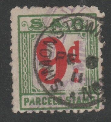 SOUTH AFRICAN RAILWAYS 9d RED AND GREEN PARCEL STAMP USED SIMONSTOWN 1911