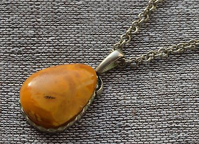 7 gr Genuine natural antique baltic amber egg yolk butterscotch pendant ????