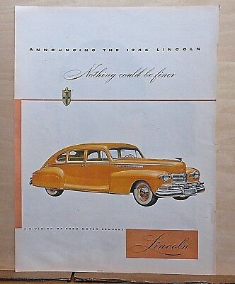 1946 magazine ad for Lincoln - yellow 1946 Lincoln, Nothing Finer