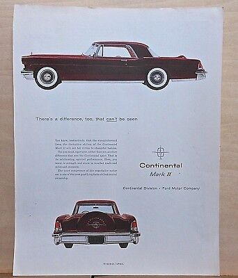 1956 magazine ad for Lincoln -difference that can't be seen, Continental Mark II