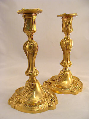 Unique Antique French Ormolu Gilt Bronze Louis XV Candlesticks 18th.C.