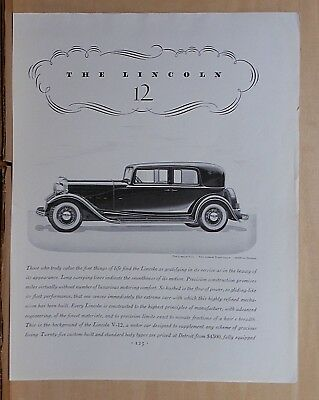1932 magazine ad for Lincoln  V-12  Two Window Town Sedan - gratifying service