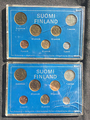 2 Sets Of Uncirculated Mint Of Finland 1974 Coins In Plastic Display Cases