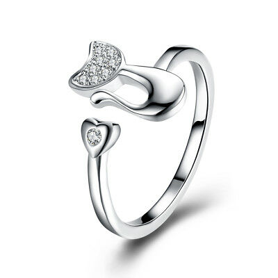 Sterling Silver Plated Ring Women's Adjustable Size Cat Animal AAA Zirconia B540