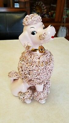vintage mid-century large 50s pink spaghetti poodle 9 and 1/2 in tall
