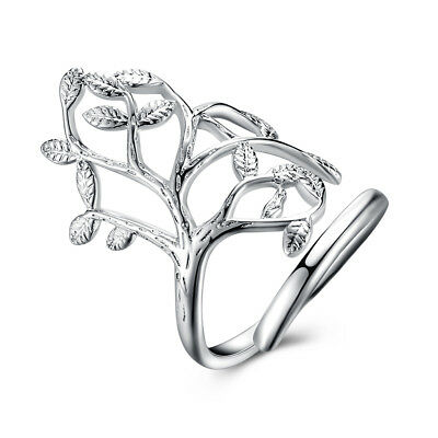 Sterling Silver Plated Ring Women's Tree Of Life Adjustable Size B542