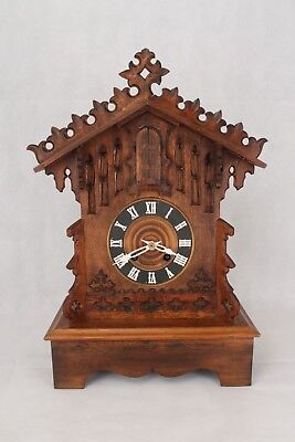 Very Rare Antique Black Forest Automaton Cuckoo Style Trumpeter Mantel Clock
