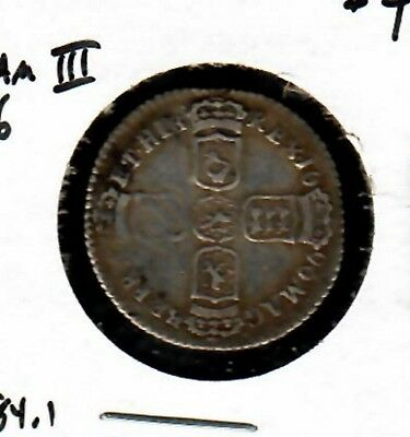 Great Britain Sixpence 1696 William III