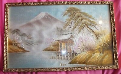 Vintage Japanese Hand Embroidered Silk Picture. Mount Fuji. 15 x 9 in approx.