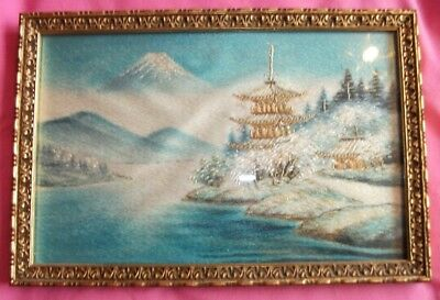 Vintage Japanese Hand Embroidered Silk Picture. Mount Fuji.  9 x 6 in approx