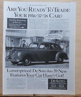 1940 magazine ad for DeSoto - Ready to trade, DeSoto has 39 new features