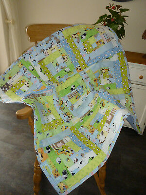 Handmade Patchwork Cot Quilt or Play Mat Farm Animals Green and Blue
