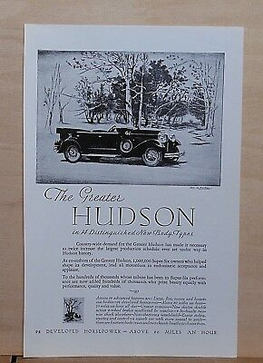 1929 magazine ad for Hudson - Greater Hudson, convertible Super Six
