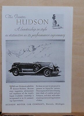 1929 magazine ad for Hudson - Greater Hudson, leadership in style, convertible