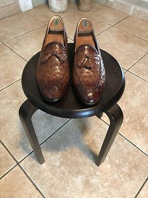 Beautiful Mezlan Genuine Quill Ostrich Loafers, Brown, 12N