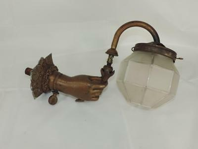 Antique 19th Century GAS Wall Sconce RARE Ladies Hand Lady Figural Spelter NoRes