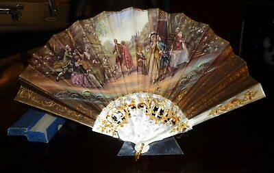 Antique Mother of Pearl hand fan France Celebration scene F/B circa 1900-30