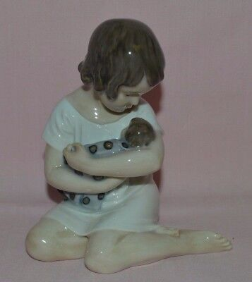 "Royal Copenhagen Fig. #1938 ""girl Holding Doll""  In Excellent Condition Denmark"