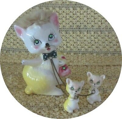 Vintage Kreiss & Company Mama Cat With 2 Kittens On Chain